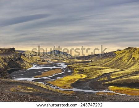Surreal landscape - Highlands of Landmannalaugar - Iceland - stock photo