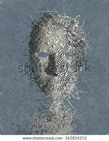 Surreal Mask ABstract with Many Wires - stock photo
