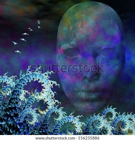 Surreal Mask and fractals as ocean waves - stock photo