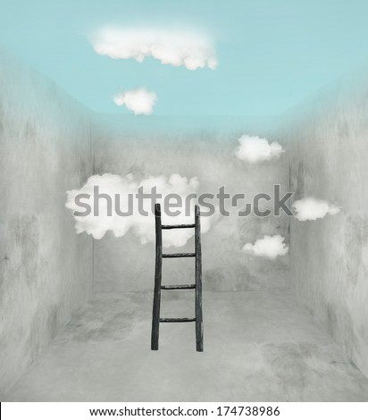 Surreal room with wooden ladder and clouds and sky in the ceiling - stock photo