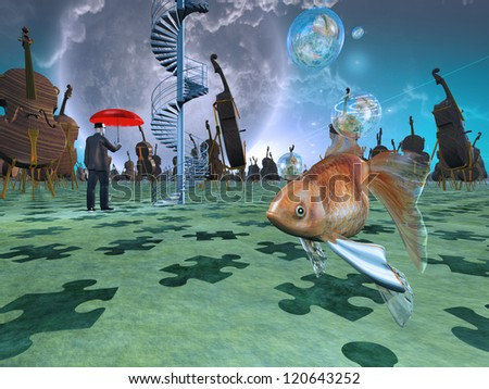 Surreal scene with various eelements - stock photo
