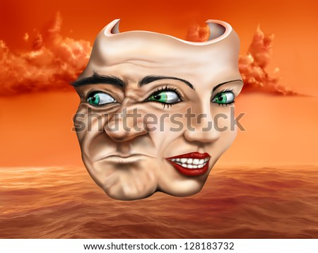 Surreal schizophrenic theater mask depicting mixed emotions - stock photo