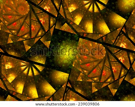 Surreal spiral fractals in blocks, computer generated abstract background - stock photo