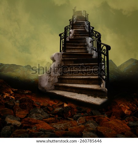 Surreal stairway towards the sky, like an old painting. - stock photo