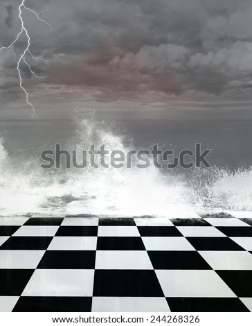 Surreal stormy seascape - stock photo