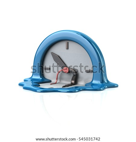 Surreal style melting blue clock time concept 3d rendering on white background