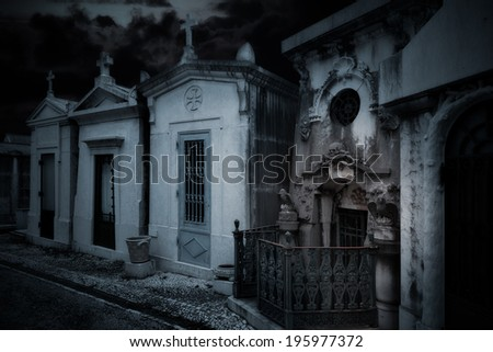 Surreal work over an old european cemetery - stock photo