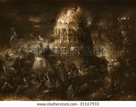 Surrealistic battle. Made by tempera on paper. - stock photo