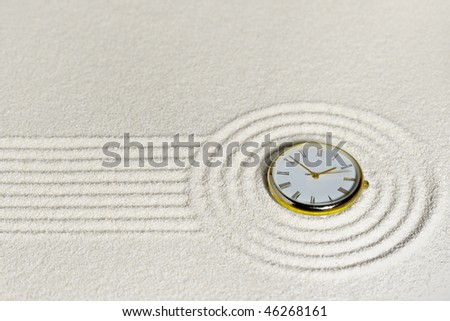 Surrealistic composition with golden watch on the sand - stock photo
