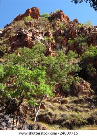 Surrounded countryside on the El Questro Gorge road, Kimberley. Western Australia. Australia - stock photo