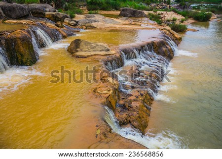 surroundings and landmarks of Yang Bay waterfall in Vietnam - stock photo