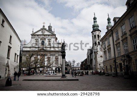 Surroundings in the old town of Krakow, the former capital of Poland