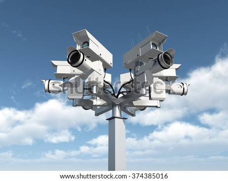Surveillance camera Computer generated 3D illustration - stock photo