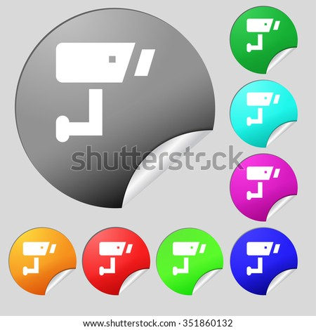 Surveillance Camera icon sign. Set of eight multi-colored round buttons, stickers. illustration - stock photo