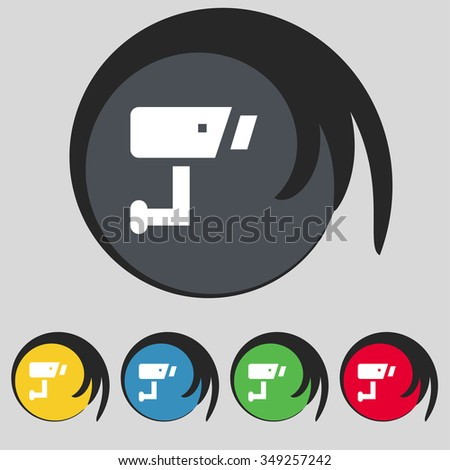Surveillance Camera icon sign. Symbol on five colored buttons. illustration - stock photo