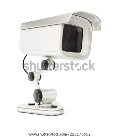 Surveillance camera isolated on white background. 3d rendering image - stock photo