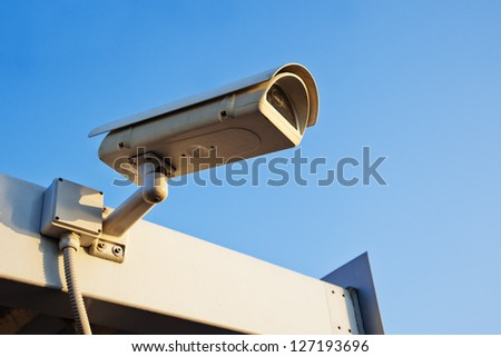surveillance camera on a roof