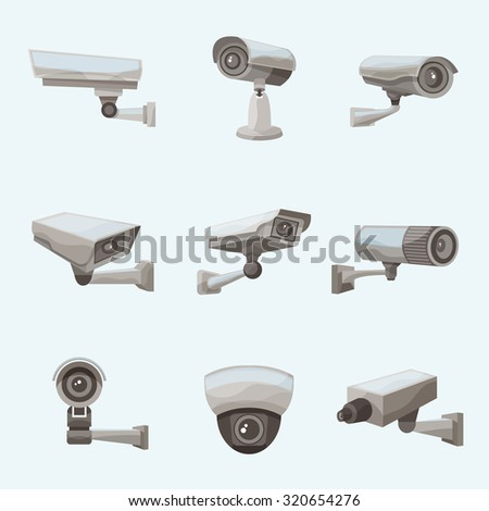 Surveillance camera security system realistic icons set isolated  illustration