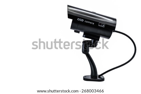 Surveillance CCD camera isolated on white background - stock photo