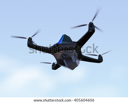 Surveillance drone flying in the sky. 3D rendering image - stock photo