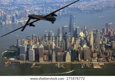 Surveillance drone on patrol over New York City, USA - stock photo