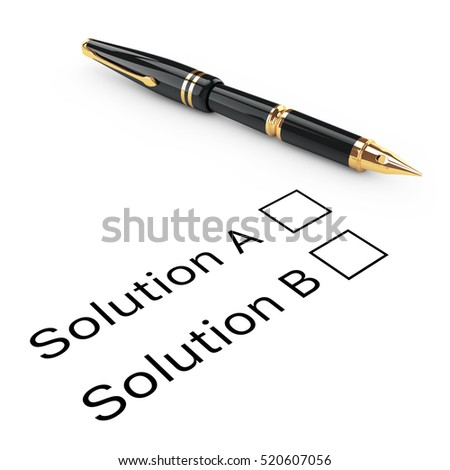Survey Concept. Solution A or B Checklist with Golden Fountain Writing Pen on a white background. 3d Rendering