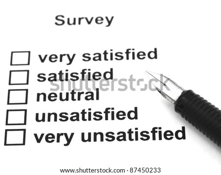 survey, questionnaire and pen - stock photo