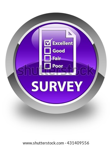 Survey (questionnaire icon) glossy purple round button - stock photo