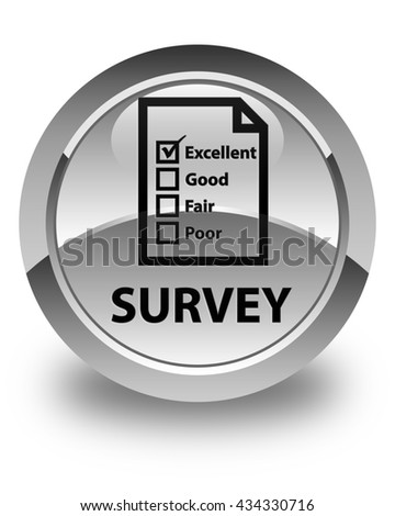 Survey (questionnaire icon) glossy white round button - stock photo