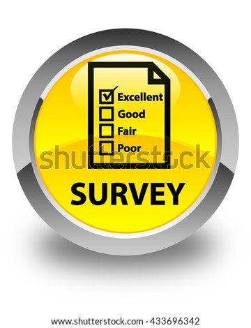 Survey (questionnaire icon) glossy yellow round button - stock photo