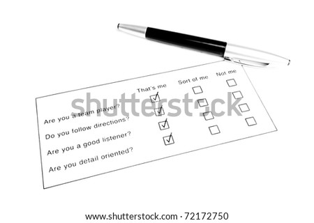 survey with quesitons and boxes to check - stock photo