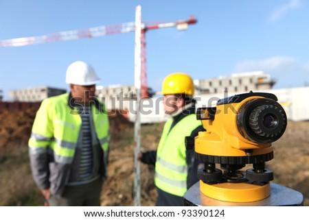 Surveyors on site - stock photo