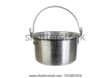 Survival and tourist equipment. Pot. Isolated on white - stock photo
