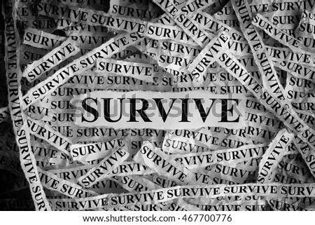Survive. Torn pieces of paper with the word Survive. Concept Image. Black and White. Closeup.