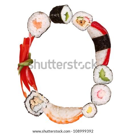 """Sushi alphabet letter """"O"""" isolated on white background - stock photo"""