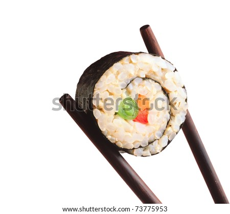 Sushi and Chopsticks isolated on a white background - stock photo