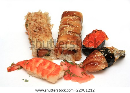 sushi and roll with a smoked fish