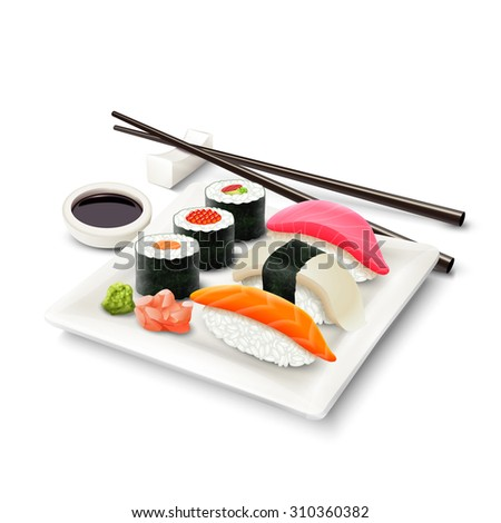 Sushi asian fish food realistic set with plate chopsticks and spices isolated on white background  illustration