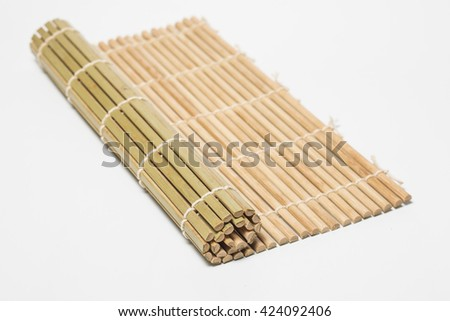 sushi bamboo mat on white background