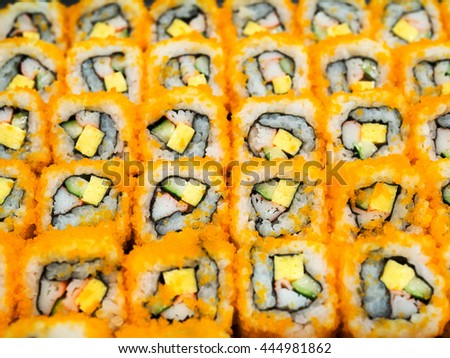 """Sushi california roll. Traditional fresh japanese food """"california roll"""". Delicious meal. (selective focus) - stock photo"""