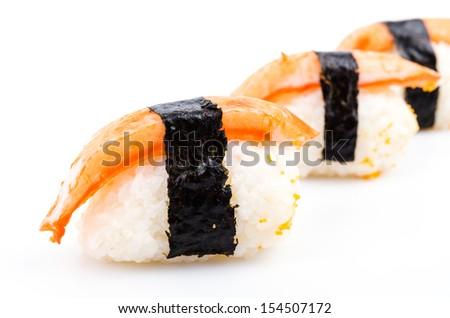 Sushi crab stick on white background - stock photo
