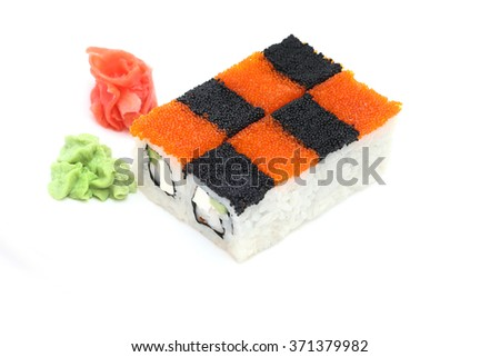 Sushi dominoes with red and black flying fish roe - stock photo