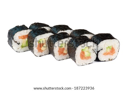 sushi fresh maki rolls, isolated on white