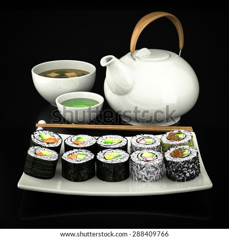 Sushi, green tea and soup on a beautiful black background - stock photo