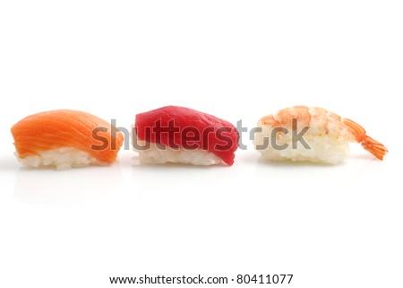 Sushi isolated in white background - stock photo