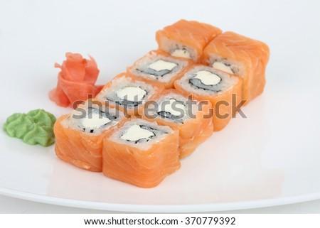 Sushi isolated on white background salmon - stock photo