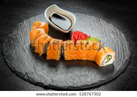 sushi, Japanese cuisine with fresh seafood