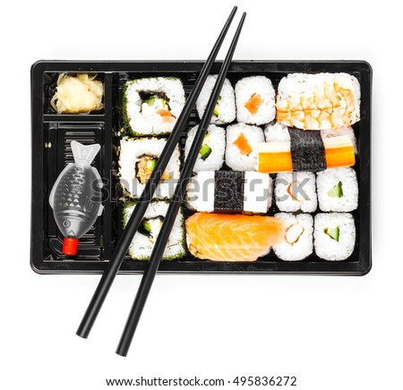 sushi menu in black transport box close up isolated on white background