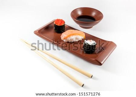 Sushi menu with Wasabi and chopsticks - stock photo