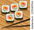 sushi on bamboo mat and chopsticks - stock vector